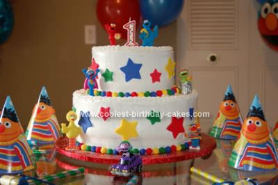 Homemade Sesame Street 1st Birthday Cake