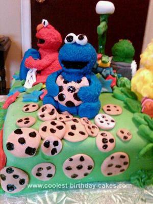 Homemade Sesame Street Birthday Cake