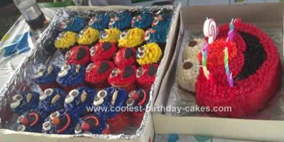 Homemade Sesame Street Birthday Cake and Cupcakes