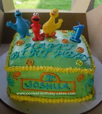 Homemade Sesame Street Birthday Cake Design