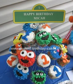 Homemade Sesame Street Birthday Cupcakes