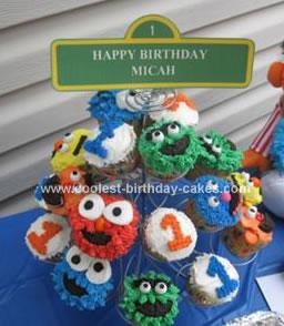 Homemade Sesame Street Birthday Cupcakes