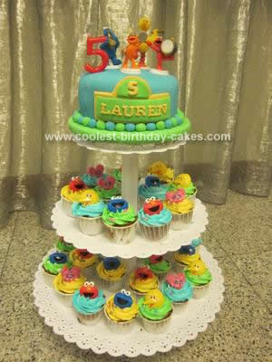 Homemade Sesame Street Cupcake Tower