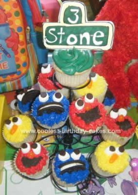 Homemade Sesame Street Elmo Cookie Monster Big Bird Cupcakes