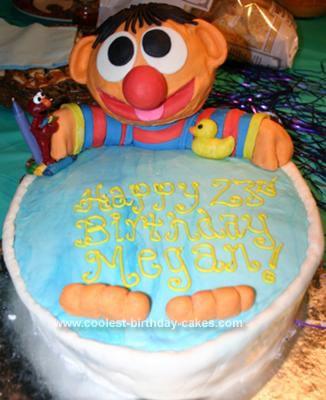 Homemade Sesame Street Ernie Fondant Cake