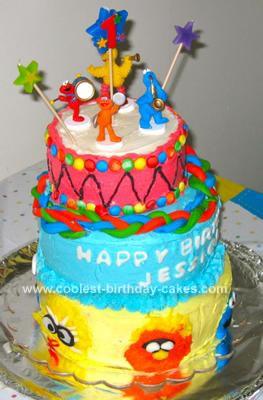 Homemade Sesame Street First Birthday Cake