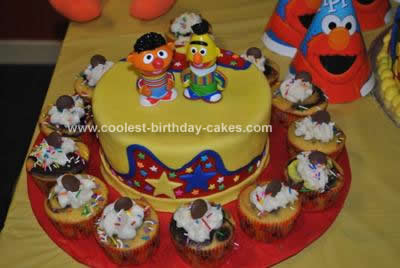 Homemade Sesame Street Gang Birthday Cake