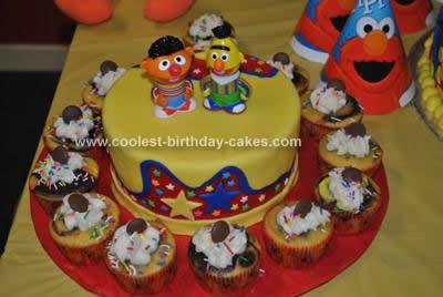 Homemade Sesame Street Gang Birthday Cake