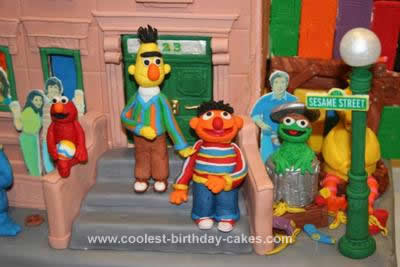 Homemade Sesame Street Neighborhood 3rd Birthday Cake