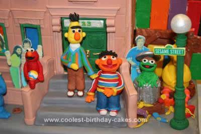 Homemade Sesame Street Neighborhood 3rd Birthday Cake