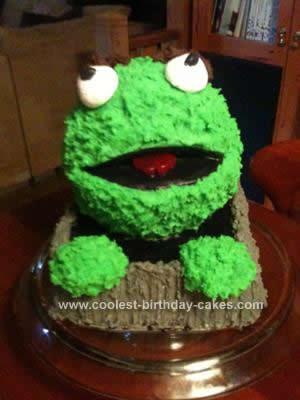 Homemade Sesame Street's Oscar the Grouch Birthday Cake