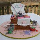 Hoemade Sewing Basket Cake