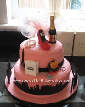 This Was Made For My Sisters 40th Birthday Recently She Wanted A Pink And Black Theme As There Were Lot Of Guests I Decided To Create 2 Tier Cake