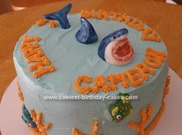 Homemade Shark Attack Birthday Cake