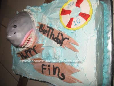Homemade Shark Birthday Cake