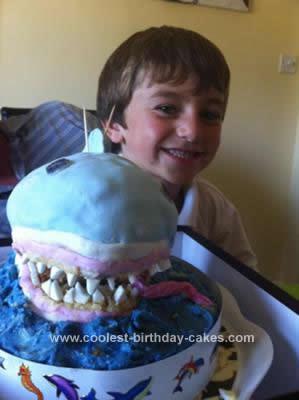Homemade Shark Eating Person Birthday Cake