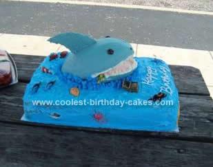 HOomemade Sharks World Birthday Cake