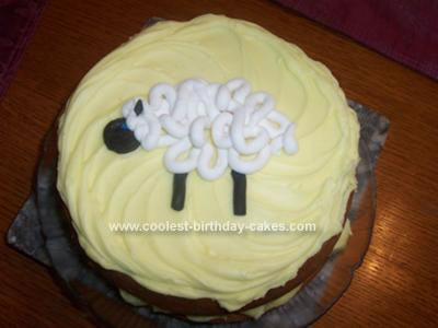 Homemade Sheep Birthday Cake