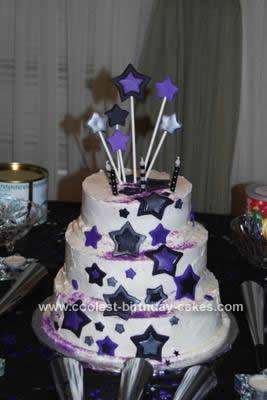 Homemade Shimmering Stars Birthday Cake