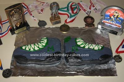 Homemade Wrestling Shoes Cake