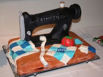 Homemade Singer Sewing Machine Cake