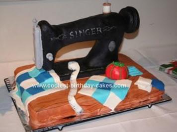 Homemade Singer Sewing Machine Cake