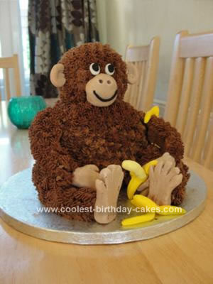 Homemade Sitting Monkey Birthday Cake