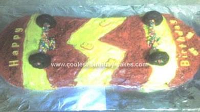 Homemade Lighting Bolt Skateboard Birthday Cake
