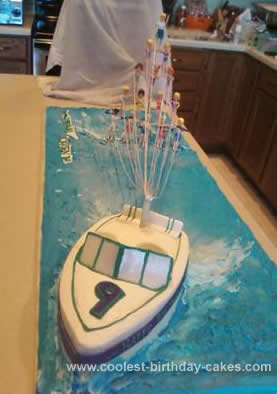 Homemade Ski Boat Cake
