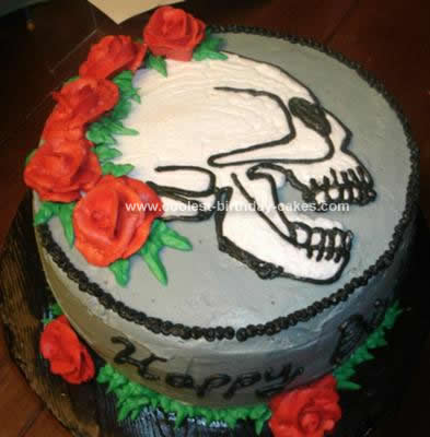 Homemade Skull and Roses Cake