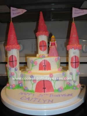 Awesome Coolest Sleeping Beauty Castle Cake Personalised Birthday Cards Paralily Jamesorg