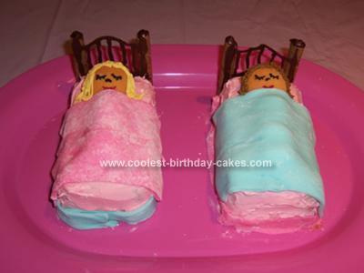 Homemade Slumbering Girls Birthday Cake