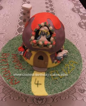 Homemade Smurfiette's House Cake