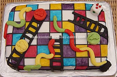 Homemade Snakes and Ladders Cake