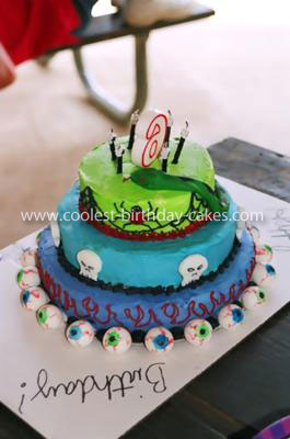 Homemade Snakes Skulls and Spiders Birthday Cake