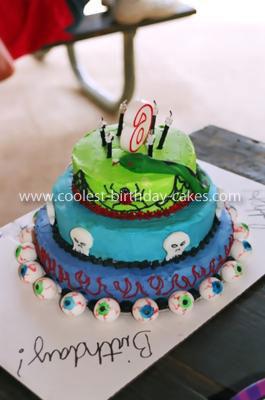 Homemade Snakes Skulls and Spiders Birthday Cake