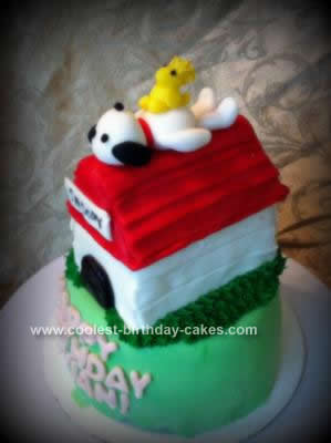 Homemade Snoopy Birthday Cake
