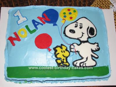 Snoopy and Woodstock Balloon Cake