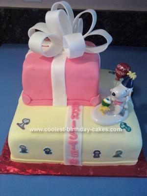 Homemade Snoopy Giftbox Birthday Cake