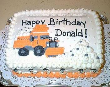 Homemade Snow Plow Birthday Cake