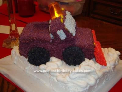 Homemade Snow Plow Truck Cake