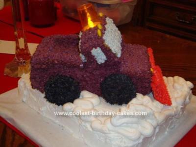 Homemade Snow Plow Truck Cake