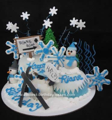 Homemade Snow Skiing Cake Ever