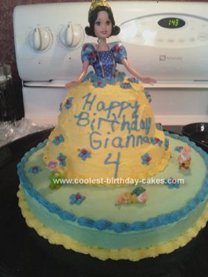 Homemade Snow White Doll Birthday Cake
