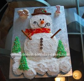 Homemade  Snowman Birthday Cake