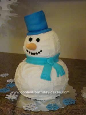 Homemade Snowman Birthday Cake