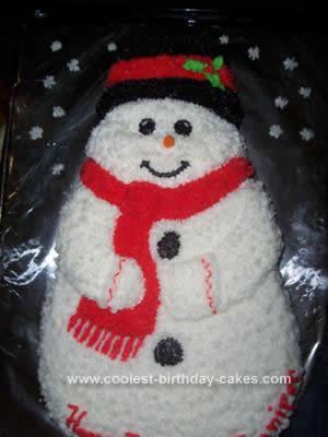 Homemade Snowman Brithday Cake