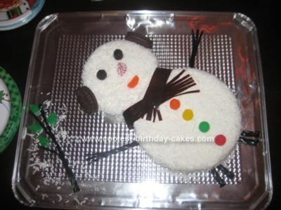 Homemade Snowman Cake