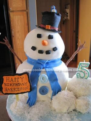 Homemade Snowman Cake for 5th Birthday