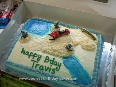 Homemade Snowmobile Birthday Cake